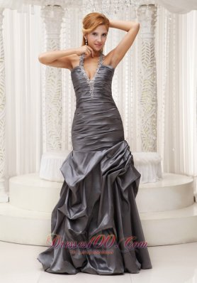 2013 Beaded Decorate Halter Grey Column Mother Of The Bride Dress For 2013 Ruched Bodice Floor-length Taffeta