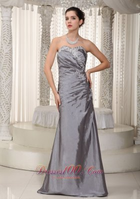 2013 Gray Column Sweetheart Floor-length Elastic Woven Satin Appliques and Beading Prom Dress
