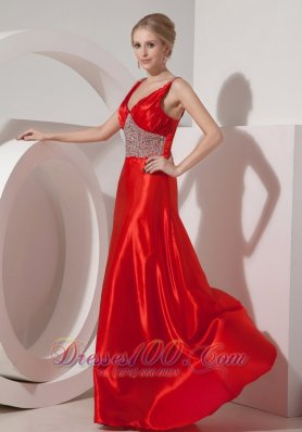 2013 Modest Red A-line V-neck Prom Dress Silk Like Satin Beading Brush Train