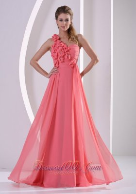 Best Customize Hand Made Flowers One Shoulder Watermelon Prom Evening Dress With Brush Train
