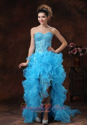 High-low Blue For 2013 Prom Dress With Beaded Bodice and Ruffles In Jefferson City