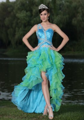 High-low Multi-color Evening Dress In Graduation Party With Ruffles One Shoulder Beaded Decorate