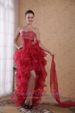 Wine Red Column Sweetheart High-low Organza Beading Prom / Cocktail Dress