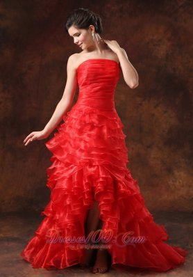 High Slit Red Ruffled Layers Ruched Bodice For 2013 Prom Dress