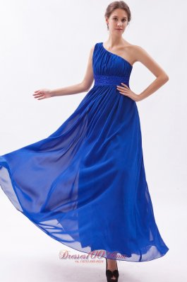 Plus Size Royal Blue Chiffon Beading Prom Dress Empire One Shoulder Floor-length
