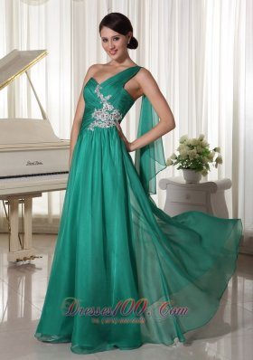 Designer Turquosie One Shoulder Appliques and Ruch Decorate Bust Chiffon Prom Dress For Formal Evening