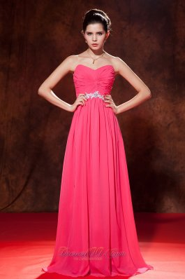 Designer Coral Red Empire Celebrity Dress Sweetheart Chiffon Beading Floor-length