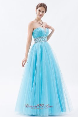 Designer Baby Blue A-line / Princess Sweetheart Prom Dress Tulle Beading Floor-length