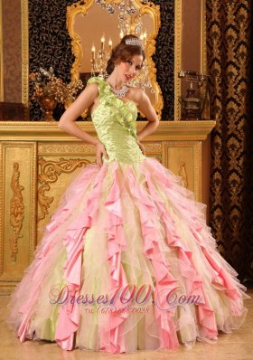 Popular Cheap Multi-Color Quinceanera Dress One Shoulder Taffeta And Organza Beading And Ruffles Ball Gown