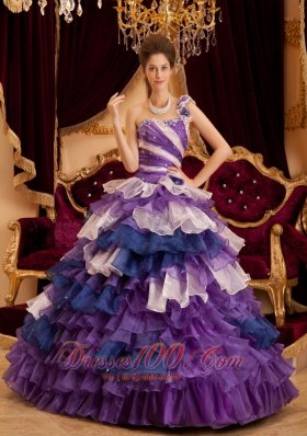 Popular Gorgeous Perfect Quinceanera Dress One Shoulder Ruffles A-line / Princess