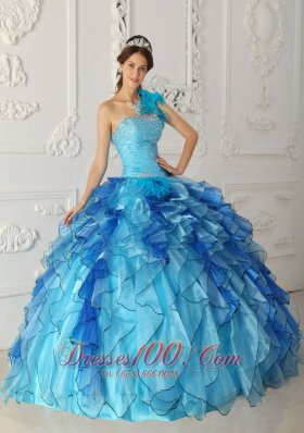 Popular Discount Aqua Blue Quinceanera Dress One Shoulder Satin and Organza Beading Ball Gown