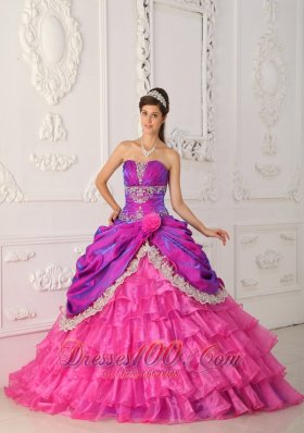 Popular Classical Hot Pink Quinceanera Dress Strapless Organza and Taffeta Lace and Appliques Ball Gown