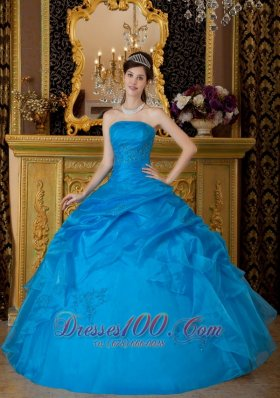 Discount Simple Sky Blue Quinceanera Dress Strapless Appliques Organza Ball Gown