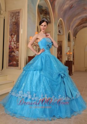 Formal Baby Blue Quinceanera Dress Strapless Bows Sequins and Organza Ball Gown