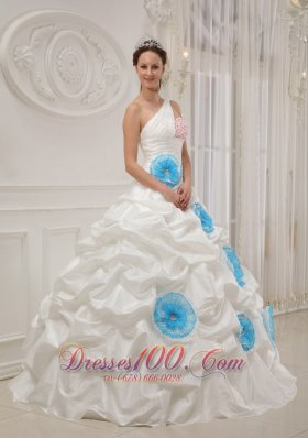 Beautiful White Quinceanera Dress One Shoulder Taffeta Beading and Hand Flowers Ball Gown