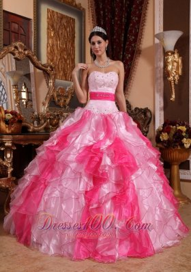 Cheap Pink Quinceanera Dress Sweetheart Organza Beading and Ruch Ball Gown