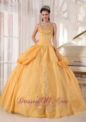 Exquisite Gold Quinceanera Dress Spaghetti Straps Taffeta and Organza Appliques Ball Gown Plus Size