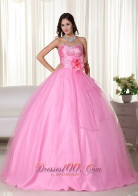Pink Gown Sweetheart Floor-length Tulle Beading Quinceanera Dress Plus Size