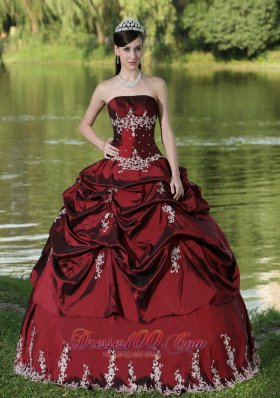 Custom Made Burgundy Quinceanera Dress Party Wear With Satin Embroidery Decorate Plus Size