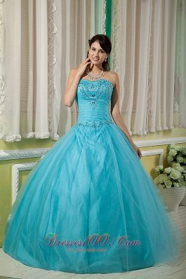 Custom Made Teal Ball Gown Sweetheart 15 Quinceanera Dress Tulle Beading Floor-length Pretty