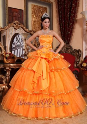 Cheap Popular Orange Quinceanera Dress Strapless Organza Ruffles Ball Gown