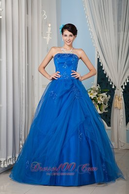 Cheap Beautiful Royal Blue 15 Quinceanera Dress A-line / Princess Strapless Tulle Beading Floor-length