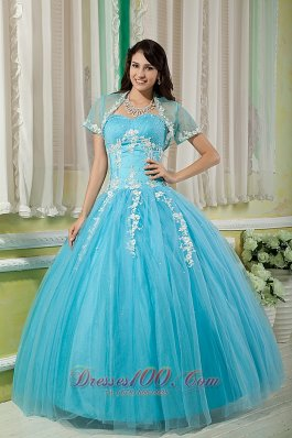 Cheap Aqua Ball Gown 15 Quinceanera Dress Sweetheart Tulle Appliques Floor-length  for Sweet 16
