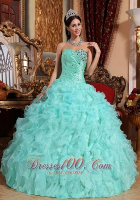 Puffy Modest Apple Green Quinceanera Dress Sweetheart Organza Beading and Ruffles Ball Gown
