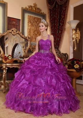 Puffy Low Price Purple Quinceanera Dress One Shoulder Organza Beading Ball Gown