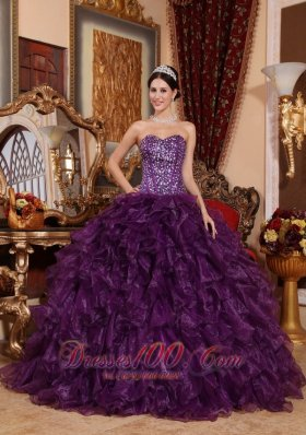 Puffy Affordable Dark Purple Quinceanera Dress Sweetheart Organza Sequins Ball Gown