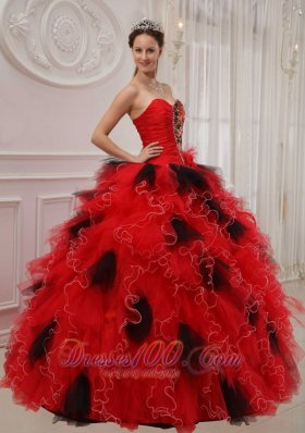 2013 Beautiful Red and Black Quinceanera Dress Sweetheart Orangza Beading and Ruch Ball Gown