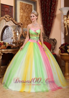 2013 Latest Multi-color Quinceanera Dress Sweetheart Tulle Beading Ball Gown