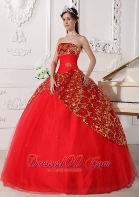 2013 Beautiful Red Quinceanera Dress Strapless Tulle Beading and Ruch Ball Gown