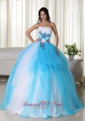 2013 Aqua Ball Gown Strapless Floor-length Tulle Beading Quinceanera Dress