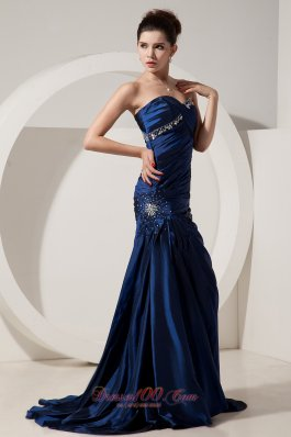 Best Beautiful Navy Blue Mermaid Prom Dress Sweetheart Brush Train Taffeta Beading