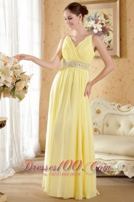 On Sale Yellow Column / Sheath V-neck Floor-length Chiffon Beading and Ruch Prom / Evening Dress