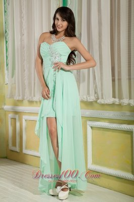 On Sale Lovely Apple Green Empire Sweetheart Prom Dress High-low Chiffon Beading