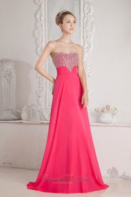 2013 Coral Red Empire Sweetheart Beading Prom Dress Floor-length Chiffon