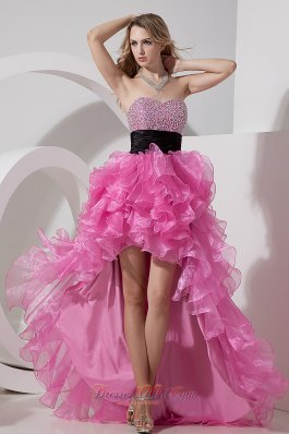 2013 Rose Pink A-line / Princess Prom Dress Sweetheart High-low Organza Beading