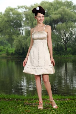Champagne A-line Straps Knee-length Taffeta Beading Prom / Homecoming Dress