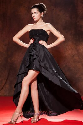 Beautiful Black A-line / Princess High-low Prom Dress Strapless Taffeta Squins