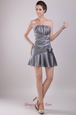 Grey A-line Strapless Mini-length Taffeta Ruch Prom / Cocktail Dress