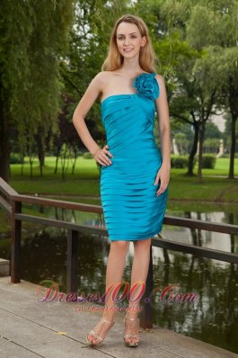 Turquiose Column One Shoulder Knee-length Satin Hand Made Flower Prom / Homecoming Dress