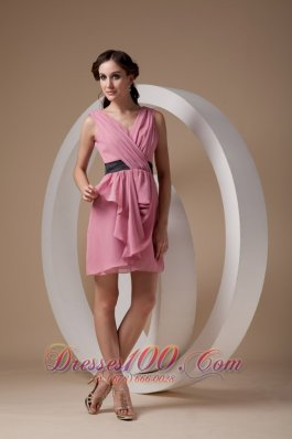 Rose Pink Column / Sheath V-neck Mini-length Chiffon Ruch Bridesmaid Dress