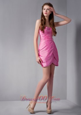 Rose Pink Column Sweetheart Mini-length Taffeta Appliques Prom Dress