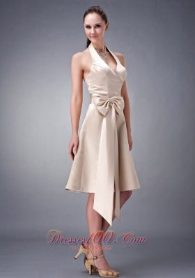 Champagne A-line / Princess Halter Tea-length Satin Sash Bridesmaid Dress