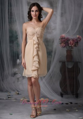 Champagne Column / Sheath Swetheart Mini-length Chiffon Ruch Prom Dress