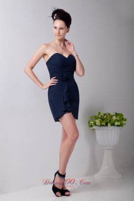 Navy Blue Empire Sweetheart Mini-length Chiffon Hand Made Flower Prom / Homecoming Dress