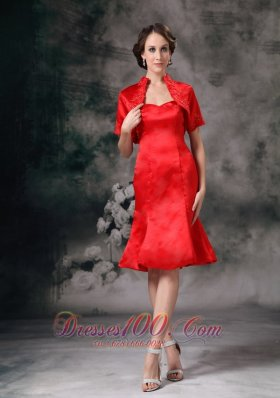 Elegant Red Column Sweetheart Mother Of Bride Dress Taffeta Knee-length