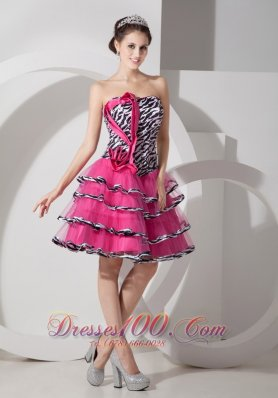 Sweet Zebra Print Strapless Short Prom Dress Mini-length